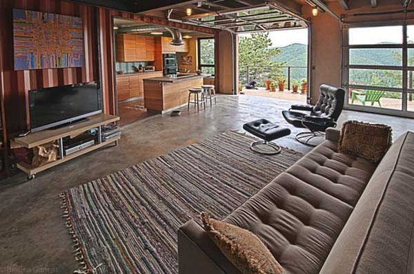 8.) This open concept was taken a step further with a sliding garage door.